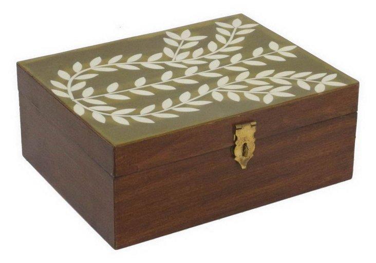 "10"" Decorative Wood Box, Brown"