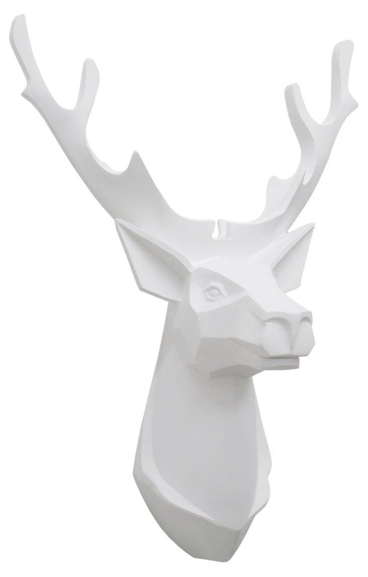 Deer Head Wall Decor, White