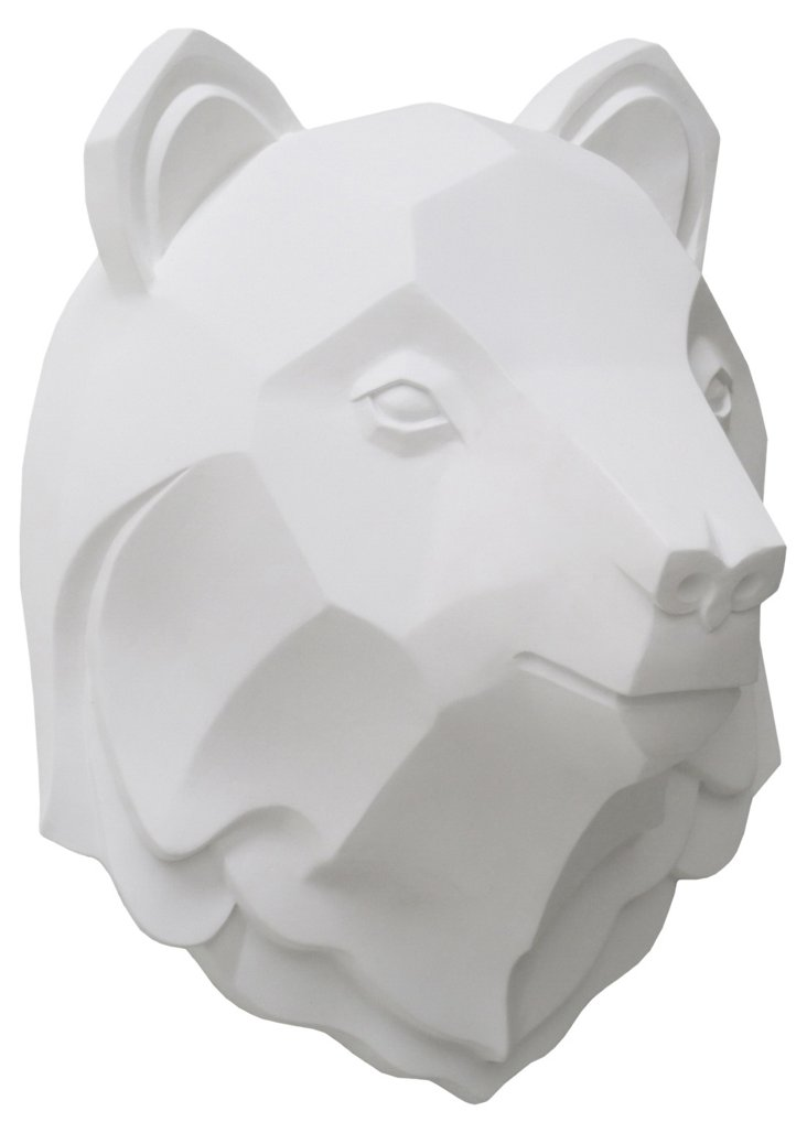 Bear Head Wall Decor, White