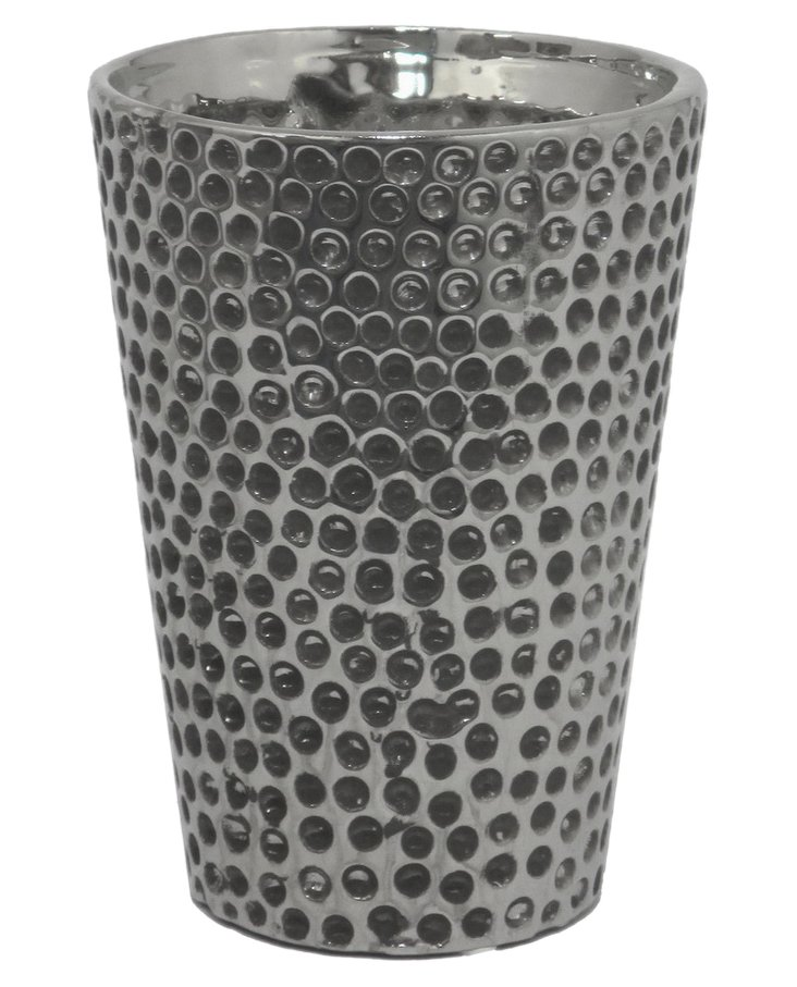 """7"""" Ceramic Vase, Silver"""