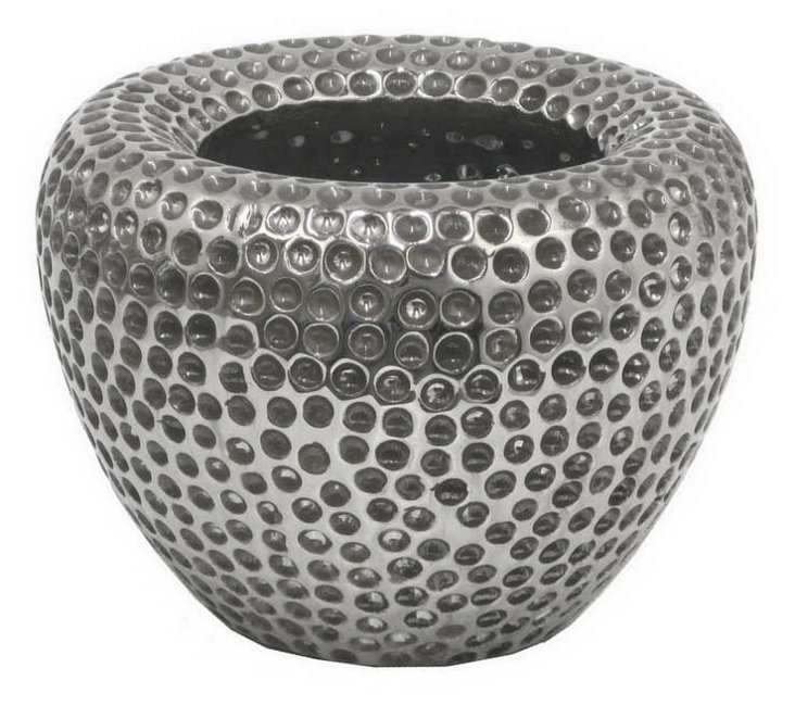 "7"" Ceramic Planter, Silver"