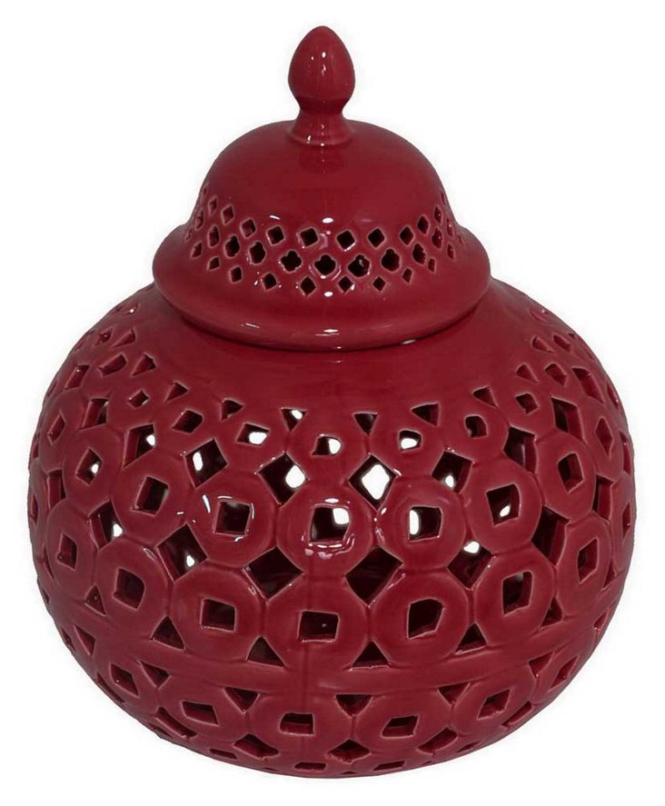 "9"" Pierced Jar w/ Lid, Red"
