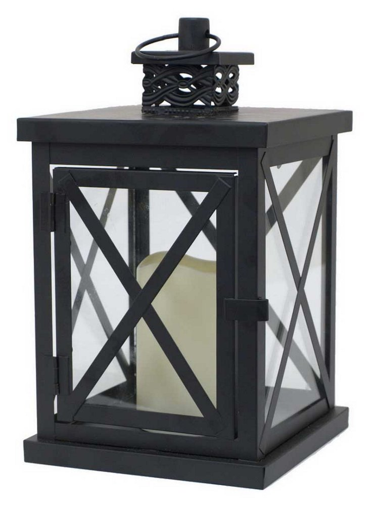 "11"" Lantern with LED Light, Black"
