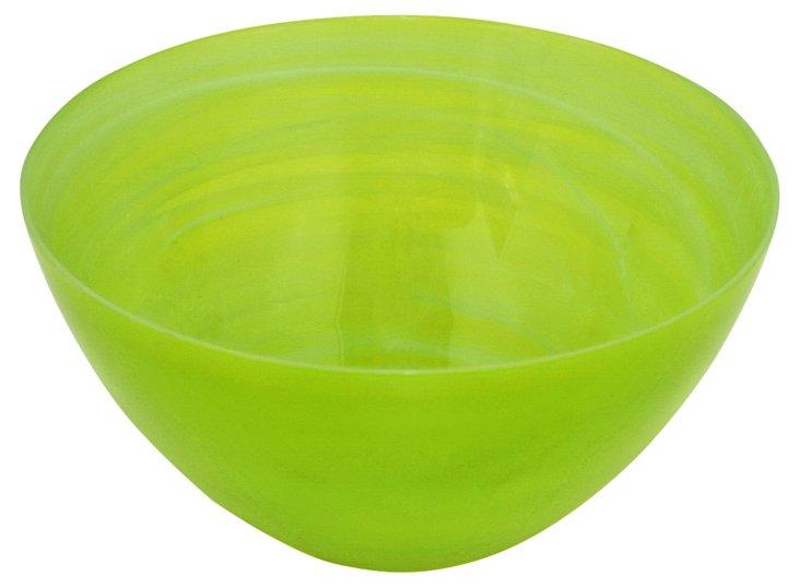 "12"" Glass Bowl, Green"