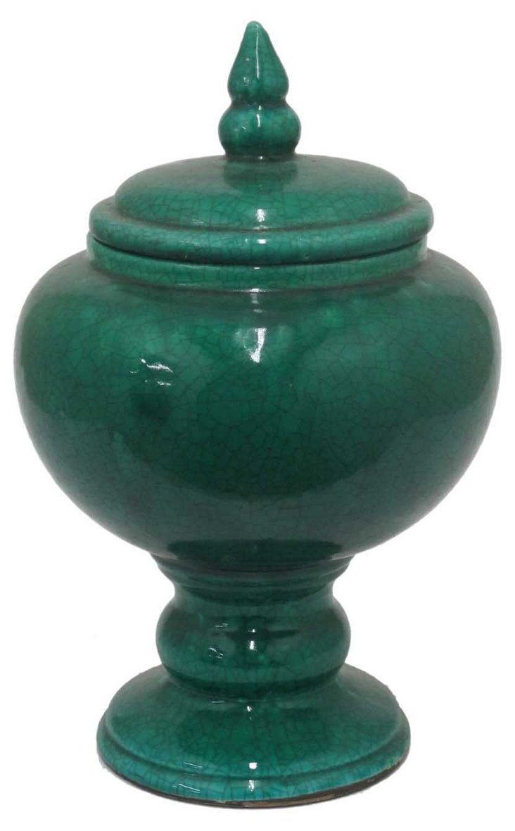 """17"""" Terracotta Jar with Lid, Green"""