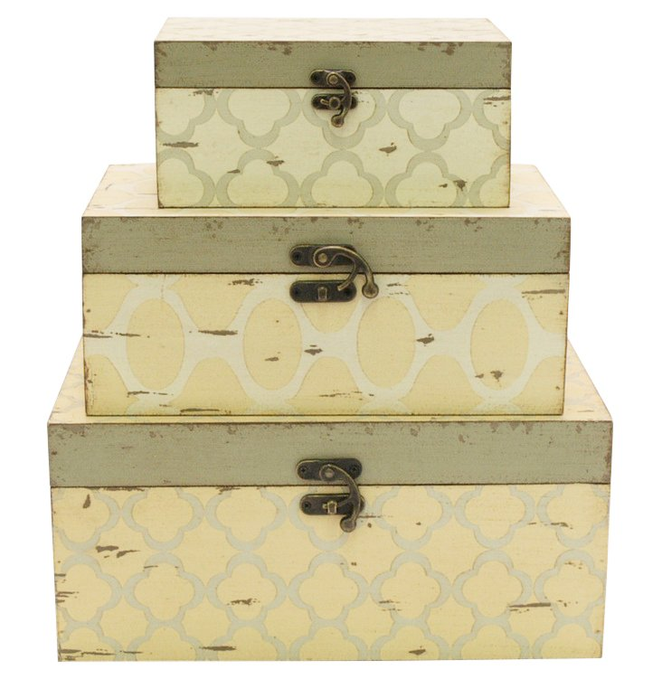 Asst. of 3 Wood Boxes, Cream