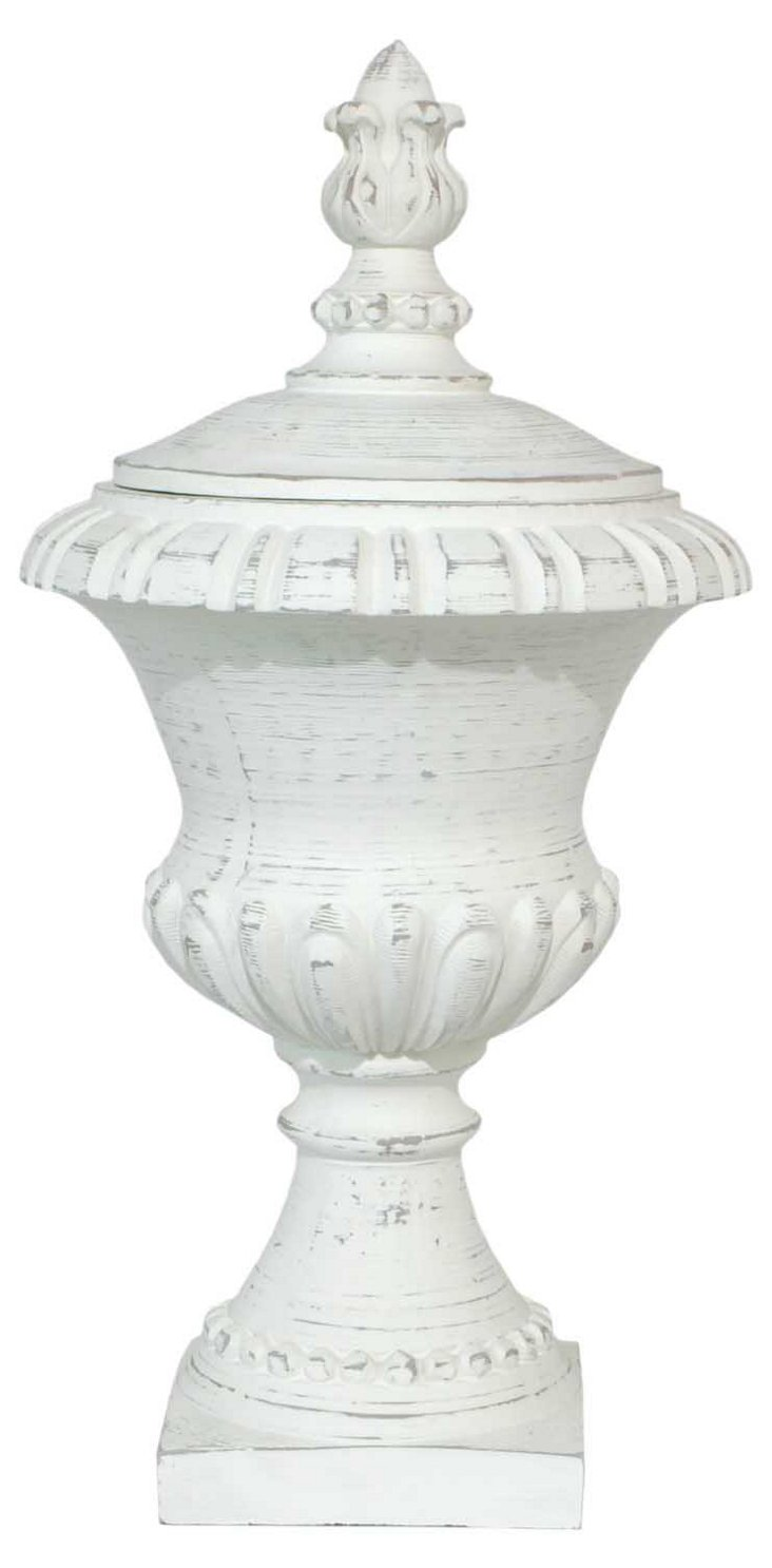 "23"" Footed Urn, White"