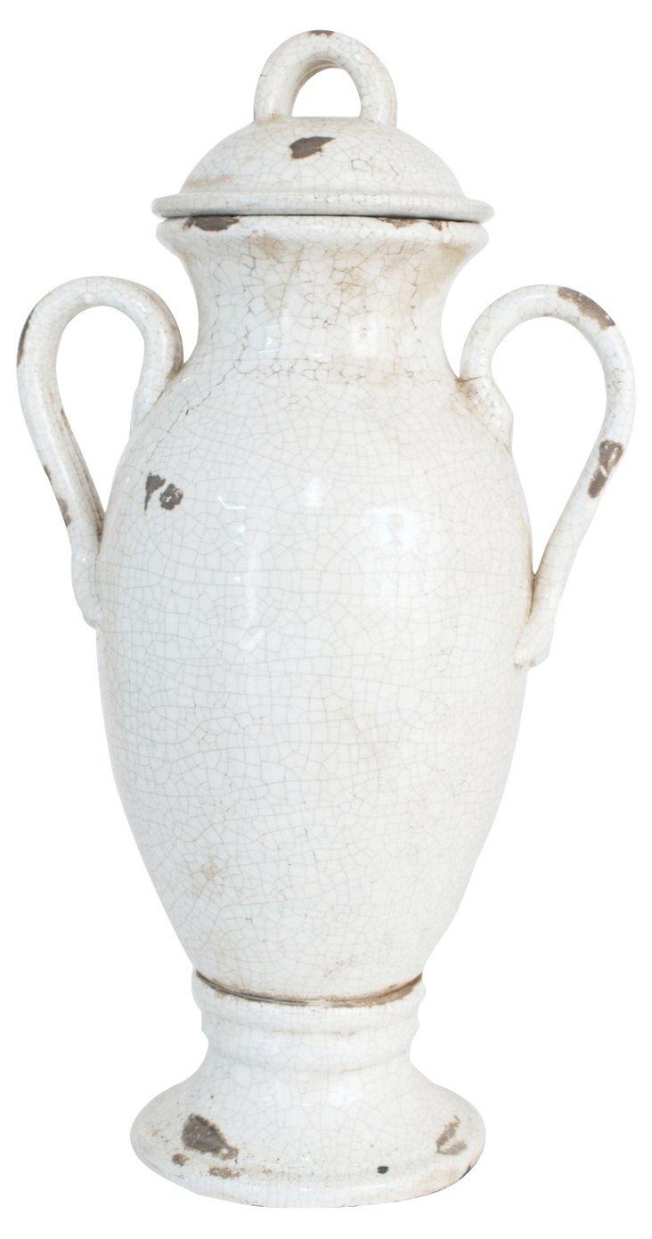 "23"" Ceramic Urn, White"