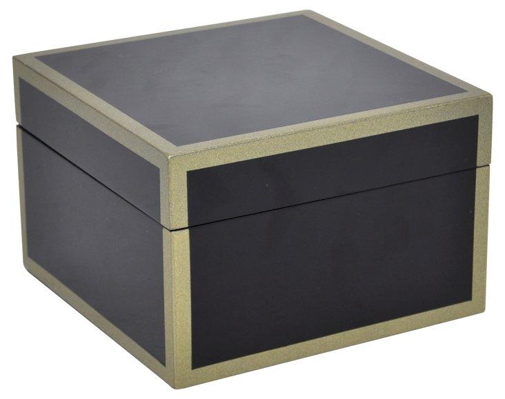 """8"""" Wood Keepsake Box, Black"""