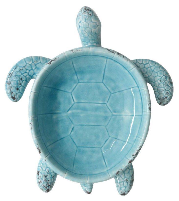 """14"""" Ceramic Turtle Dish, Blue"""