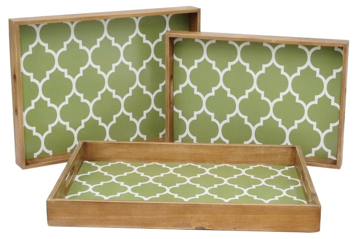 Asst. of 3 Quatrefoil Wood Trays, Green