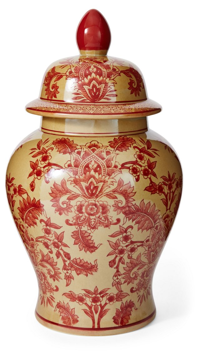 "17"" Floral Ginger Jar, Yellow/Red"