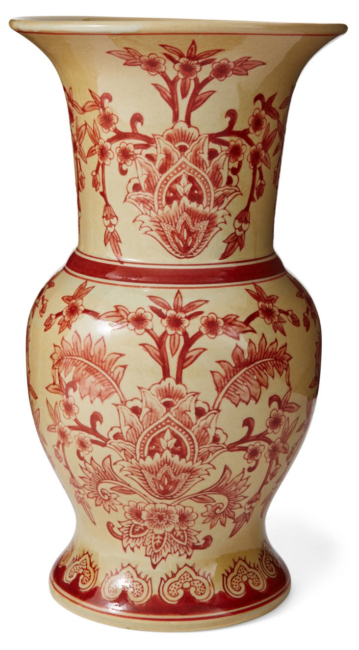 """14"""" Floral Vase, Yellow/Red"""