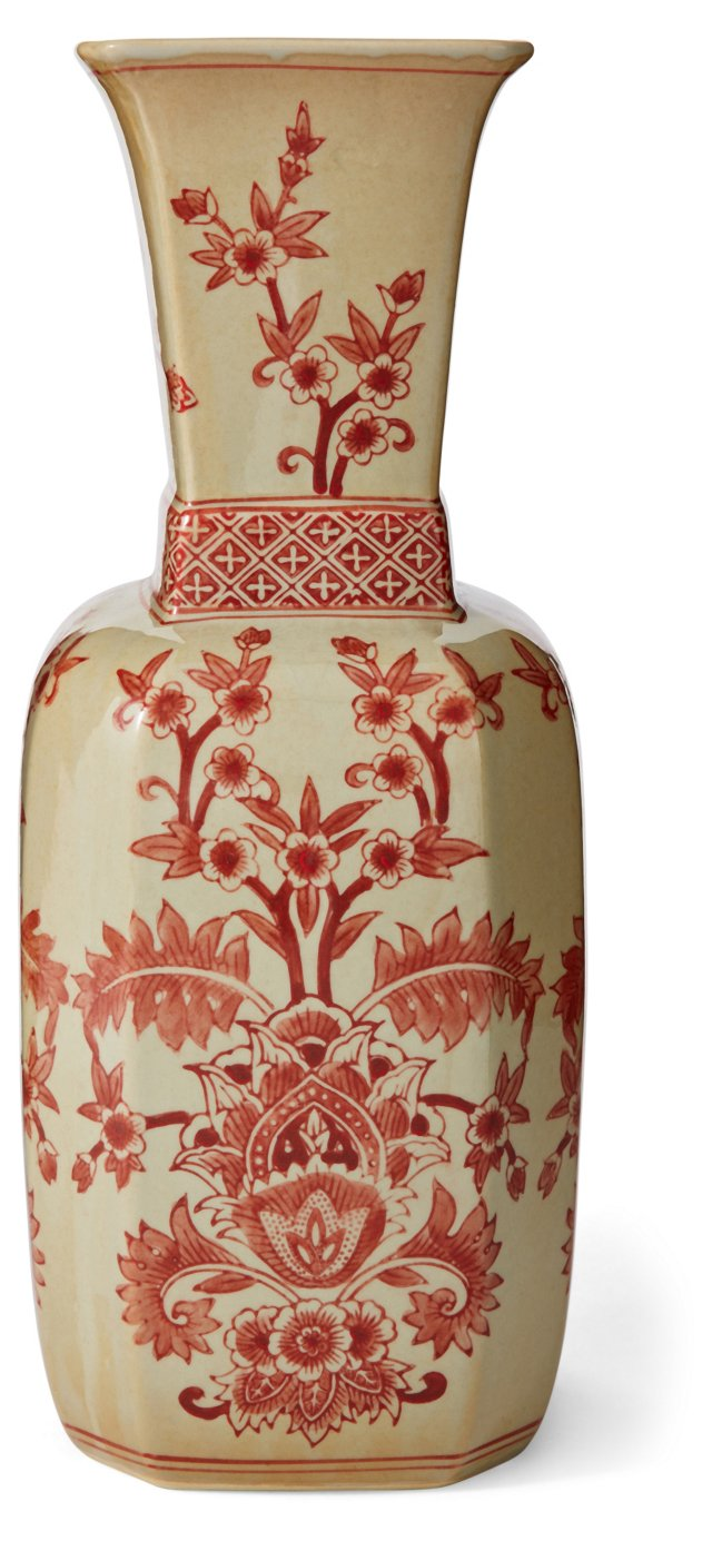 """15"""" Floral Vase, Yellow/Red"""