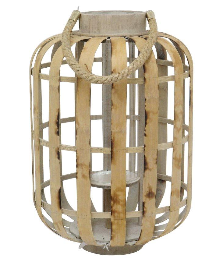 """17"""" Bamboo Lantern, Brown"""
