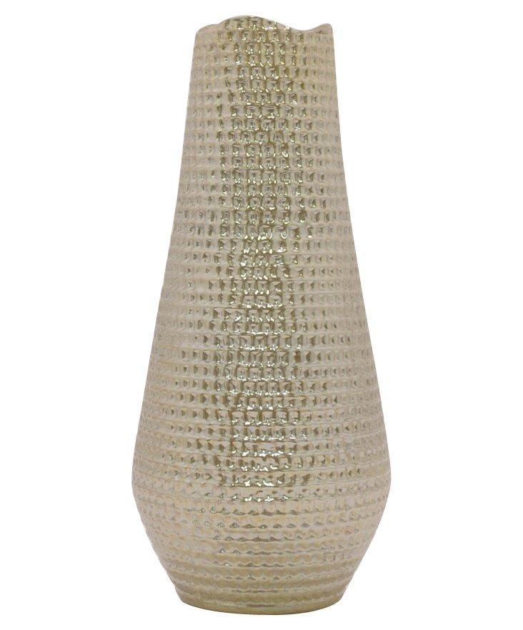 """25"""" Pebbled Ceramic Vase, Gold"""