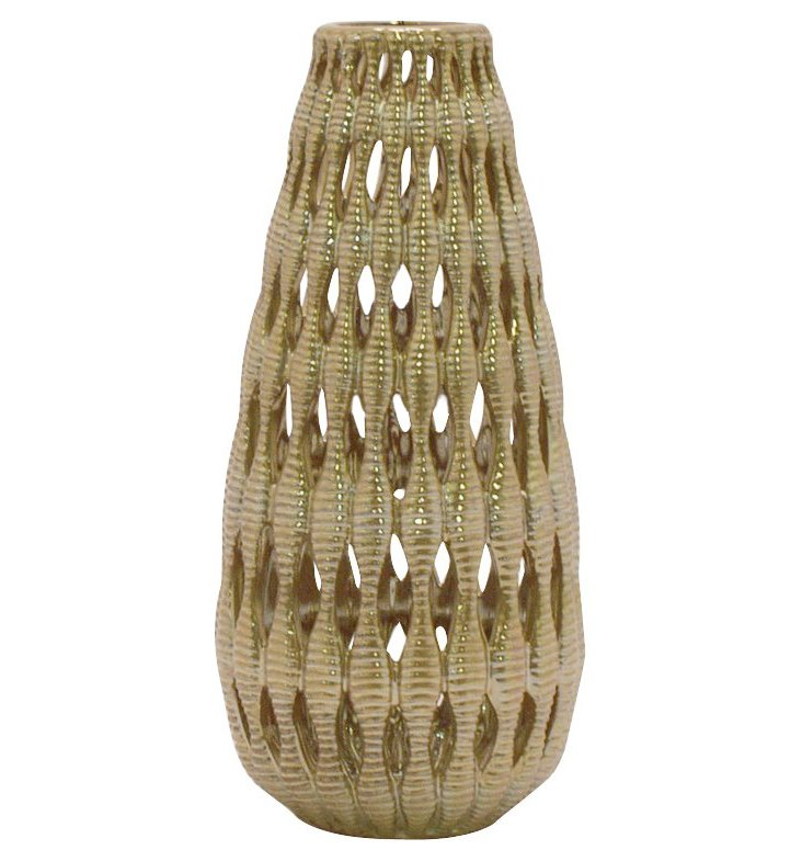 "12"" Cutwork Ceramic Vase, Gold"
