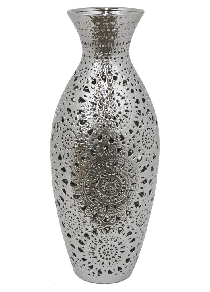 "32"" Pierced Ceramic Vase, Silver"