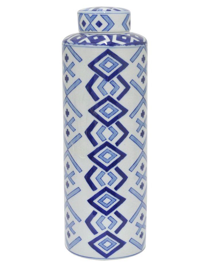 "14"" Crosshatch Jar, Blue/White"