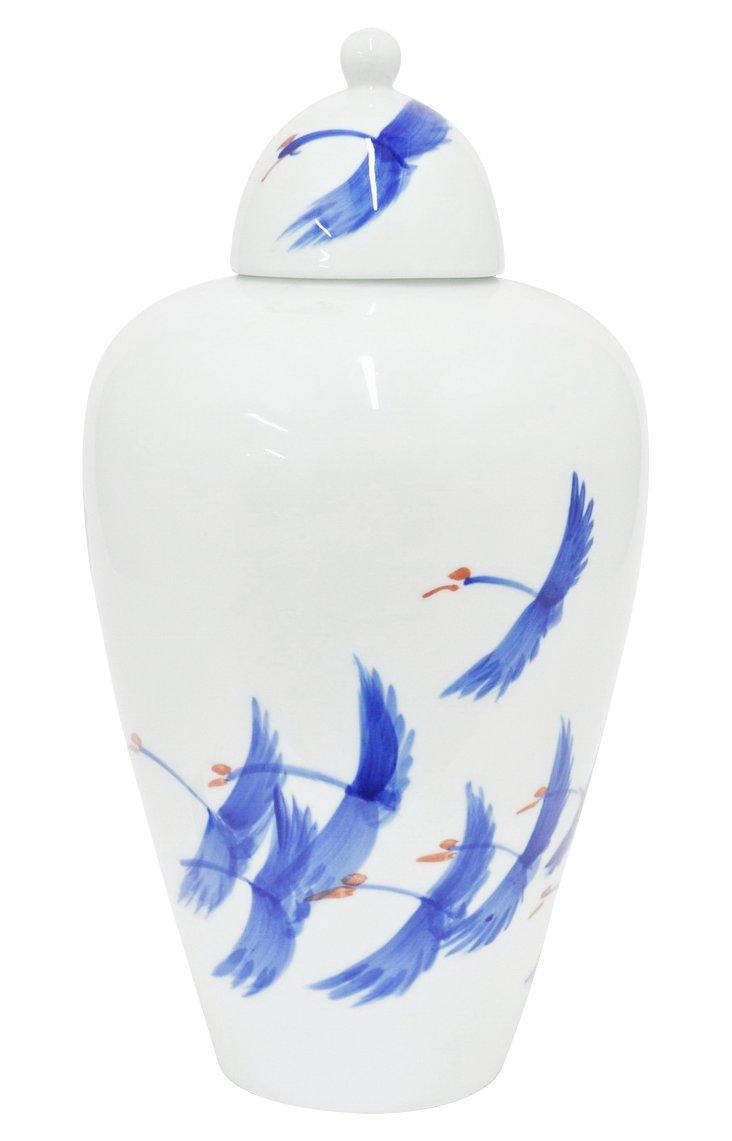 "16"" Bird-Motif Jar, White/Blue"