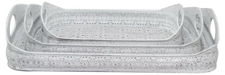 Asst. of 3 Fretwork Metal Trays, White