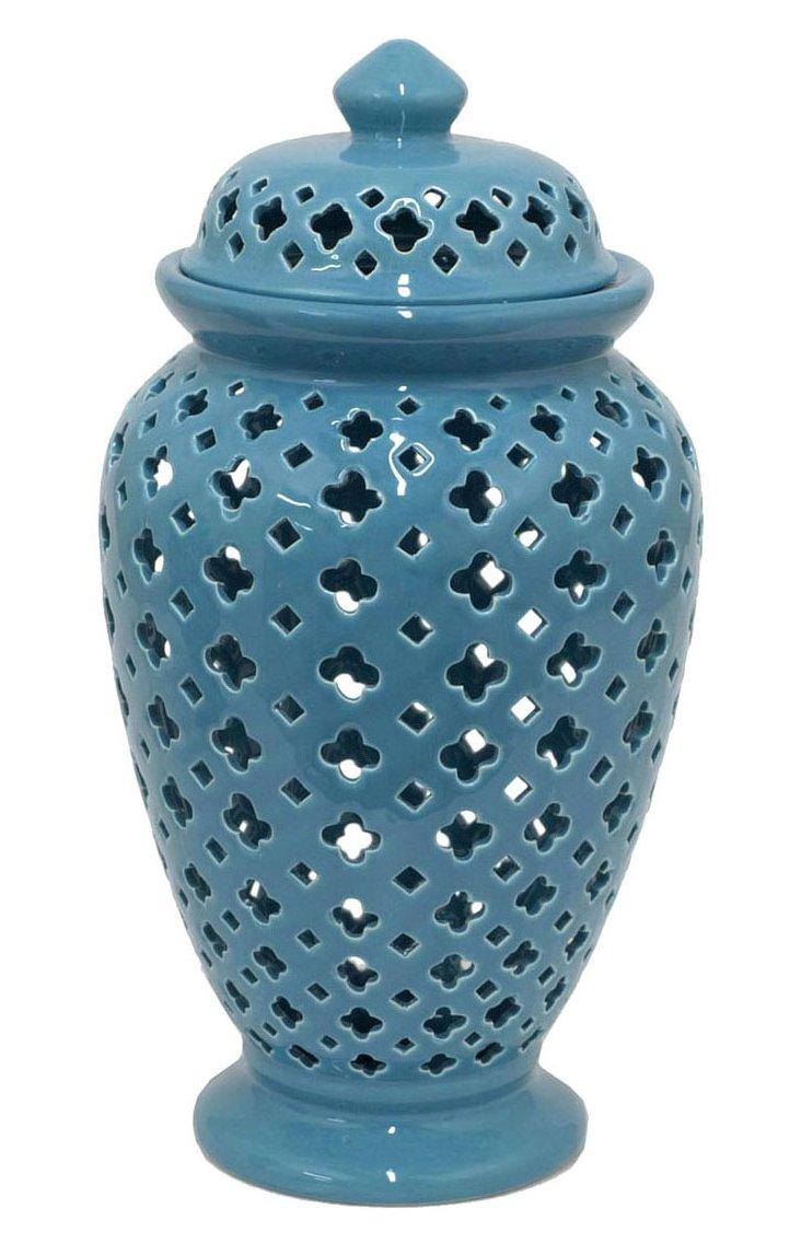 """Cutwork Temple Jar, 16"""" Blue"""