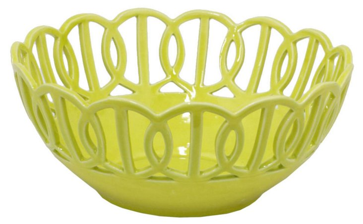 "10"" Ceramic Bowl, Green"