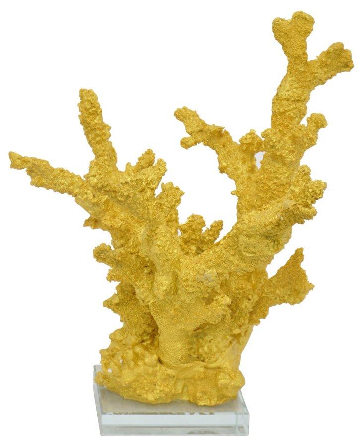 "13"" Coral Objet w/ Base, Gold"