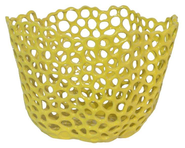 "14"" Ceramic Bowl, Yellow"