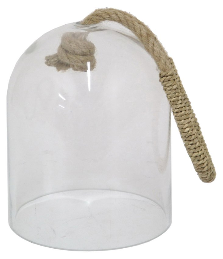 "8"" Glass Cloche w/ Rope Handle"