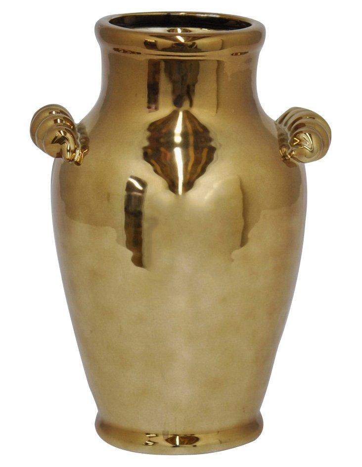 """11"""" Ceramic Vase, Bronze"""