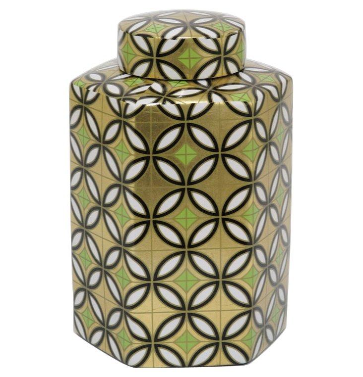 "11"" Geometric Print Hexagon Jar, Gold"