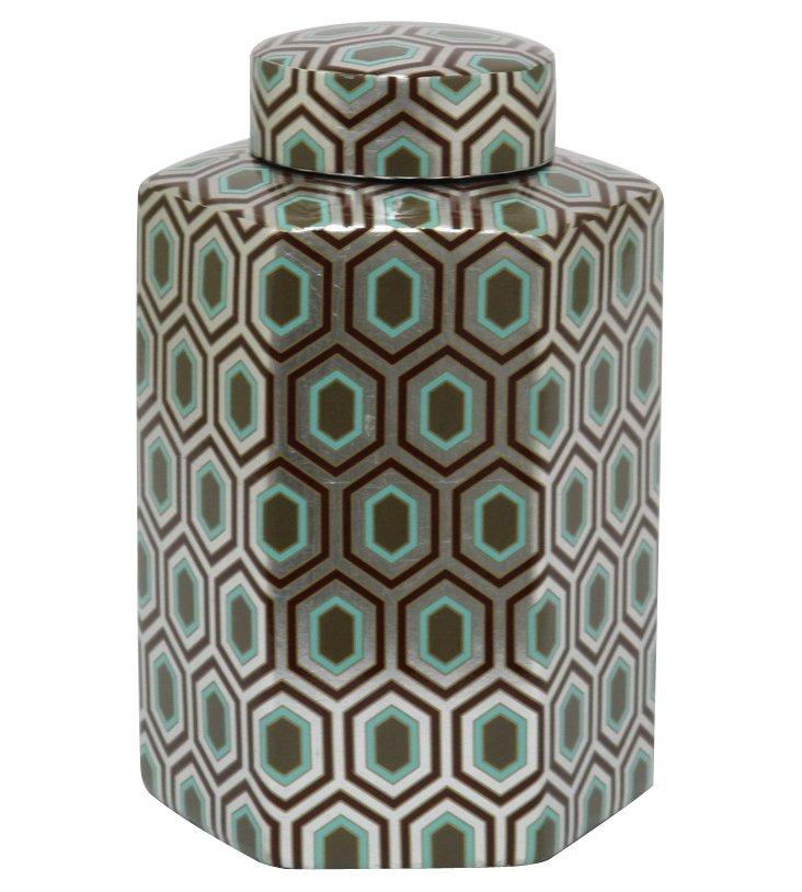 "11"" Geometric Print Hexagon Jar, Silver"