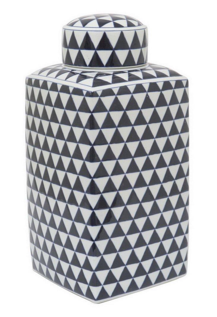 "19"" Geometric Print Square Jar, Navy"
