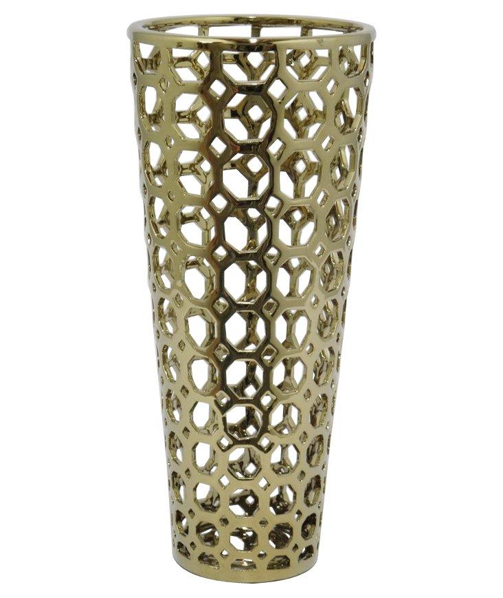"16"" Ceramic Vase, Gold"