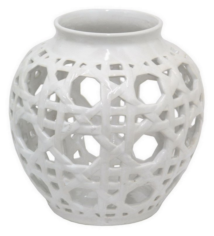 "9"" Ceramic Vase, White"