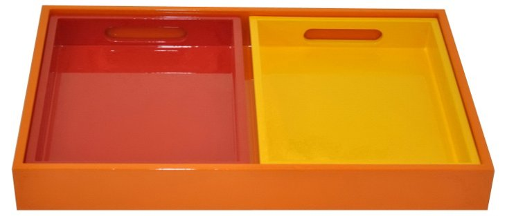 Asst. of 3 Colorful Trays, Red/Yellow