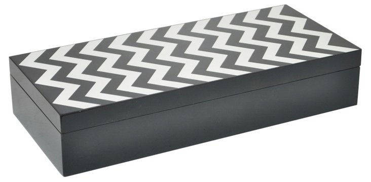 "14"" Zigzag Wood Box, Black/White"
