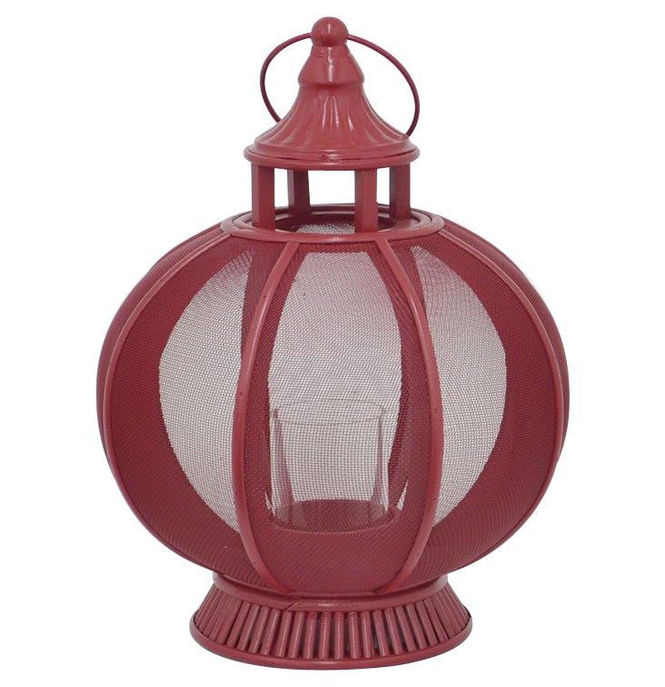 """18"""" Mesh Metal Lantern, Red"""