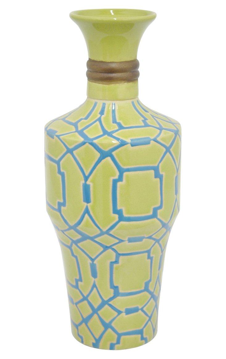 "16"" Maeve Vase, Green"