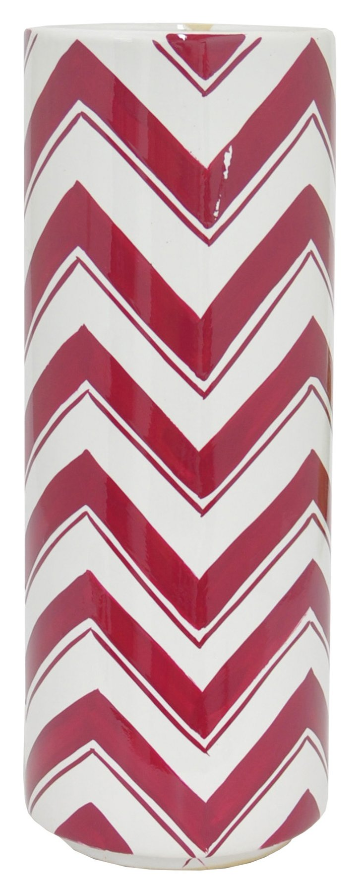 "14"" Ceramic Zigzag Vase, Red/White"