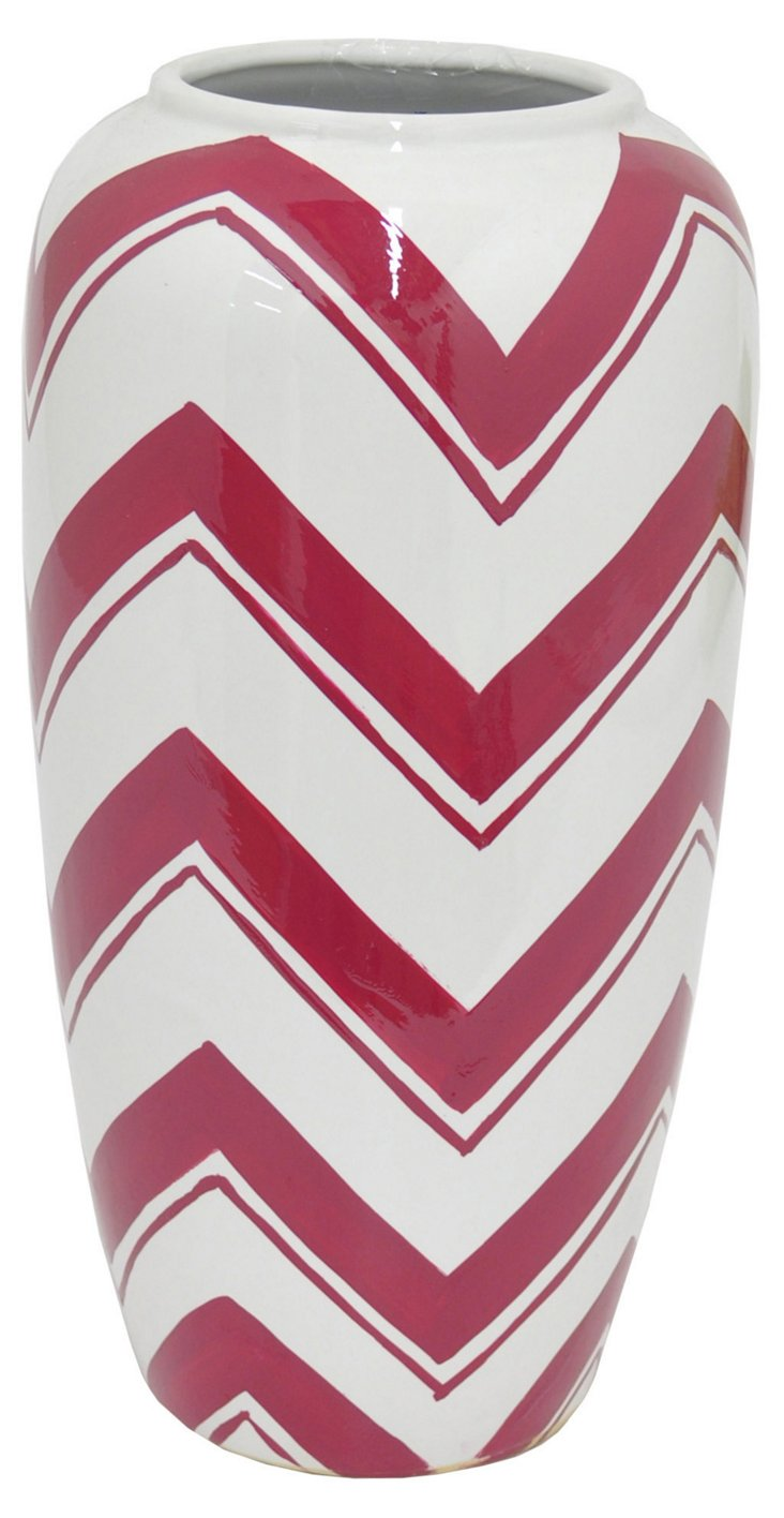 "12"" Ceramic Zigzag Vase, Red/White"