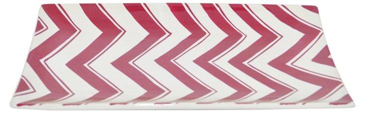 "13"" Ceramic Zigzag Tray, Red/White"