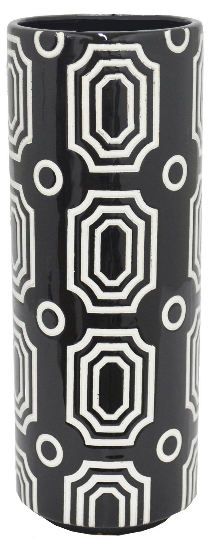 """14"""" Taryn Ceramic Vase, Black/White"""