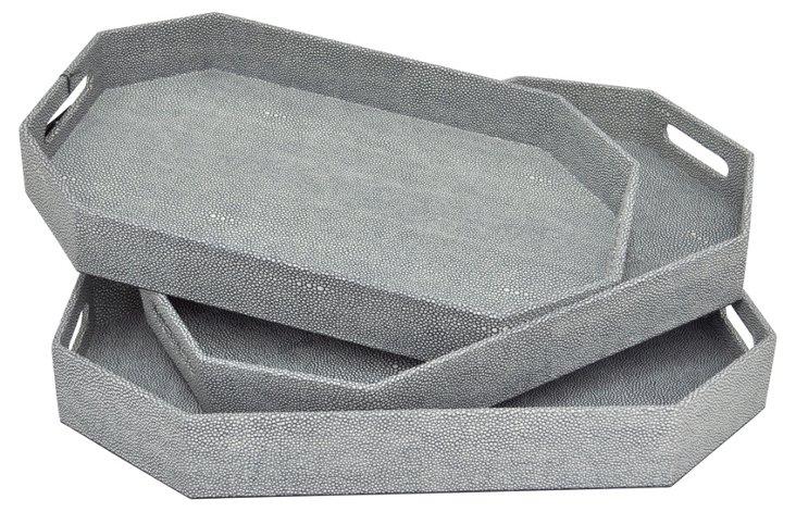 Asst. of 3 Octagon Prescot Trays, Gray
