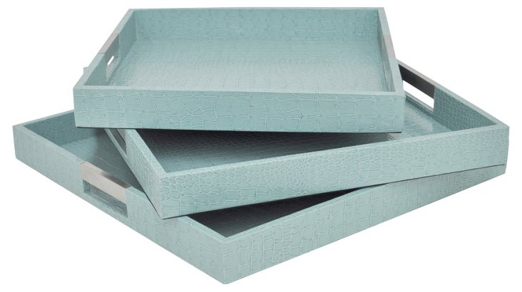 Asst. of 3 Square Prescot Trays, Aqua