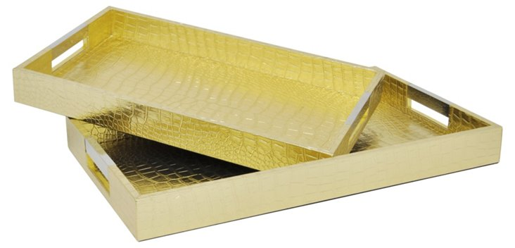 Asst. of 2 Faux-Leather Trays, Gold
