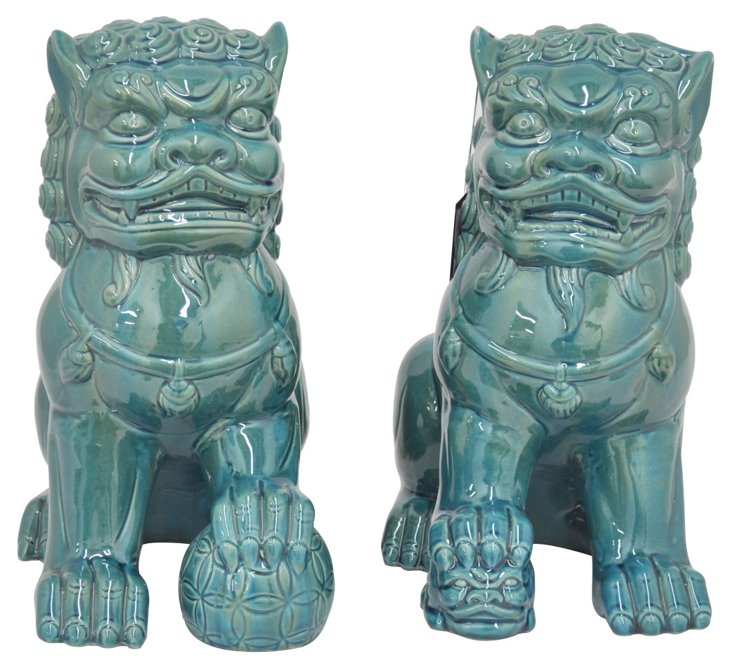 Asst. of 2 Foo Dogs, Turquoise