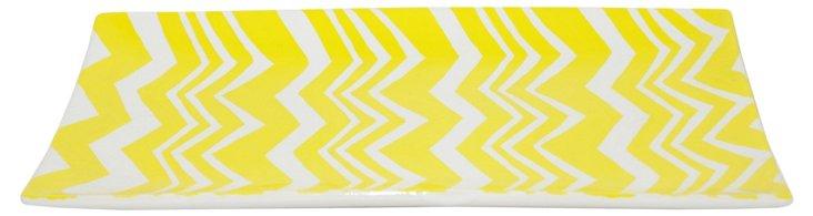 """13"""" Ceramic Zigzag Tray, Yellow/White"""