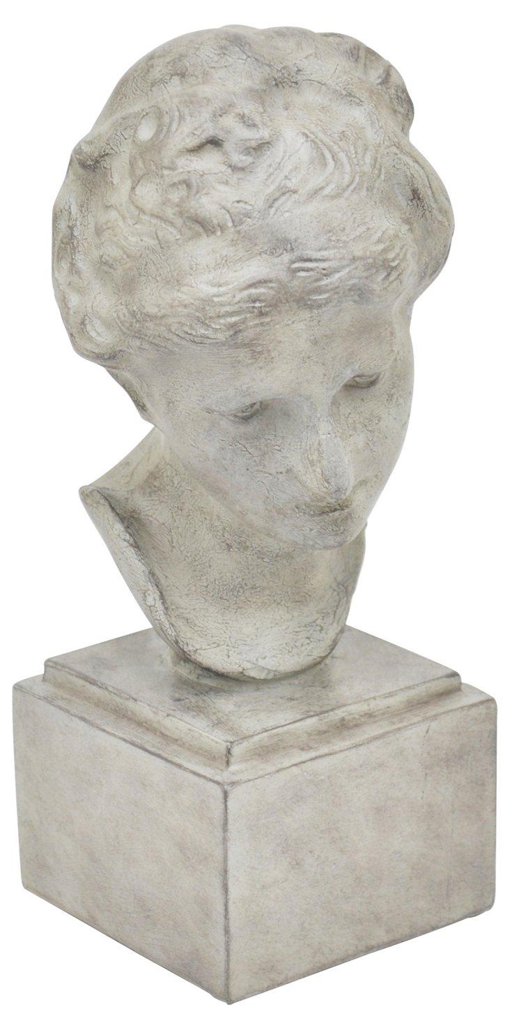 "13"" Classical Female Bust, White"